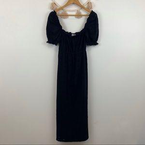 ASOS black eyelet square neck maxi dress SZ 4